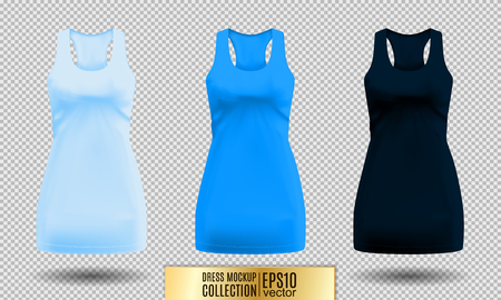 Realistic detailed 3d women dress mock up. Light, normal and dark blue set isolated on Background sport summer clothing. Vector illustration Illustration