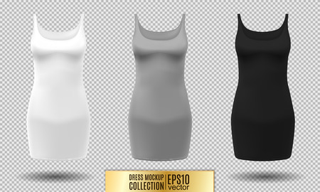 Womens short dress-shirt mockup collection. Realistic vector illustration. Fully editable handmade mesh. Classic dress with short sleeves.