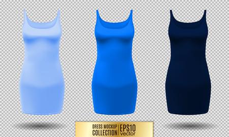 Realistic detailed 3d women dress mock up. Light, normal and dark blue set isolated on Background sport summer clothing. Vector illustration Illustration
