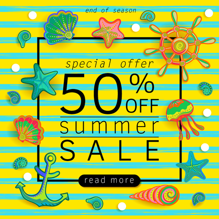 Summer Sale banner with pieces of marine items bright design. Vector eps 10 format Archivio Fotografico - 100200979
