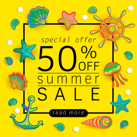 Summer Sale banner with pieces of marine items bright design. Vector eps 10 format Vettoriali