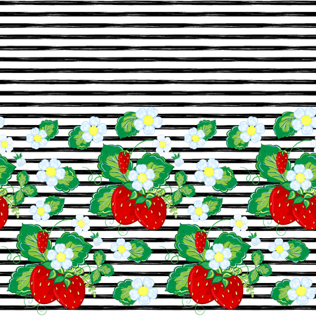 Seamless pattern with strawberry and strips. Vector illustration.