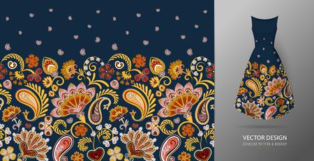 Seamless vertical fantasy flowers border pattern. Vector Illustration