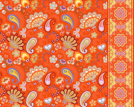 Turkish cucumbers. Oriental motif. Seamless ornament and border for fabrics, wallpaper, background. Vector illustration Orange Ilustração