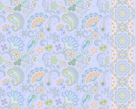 Turkish cucumbers. Oriental motif. Seamless ornament and border for fabrics, wallpaper, background. Vector illustration. Delicate pastel blue