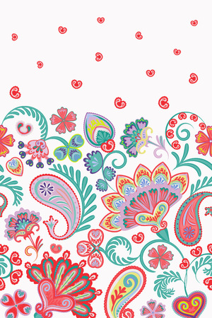 Damask style paisley floral vertical seamless pattern. Vector eps8. Gentle pink blue on white