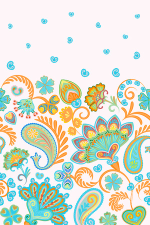 Damask style paisley floral vertical seamless pattern. Vector eps8. Orange blue on white