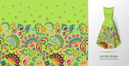Seamless vertical fantasy flowers pattern. 일러스트