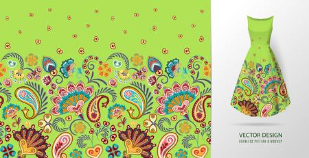Seamless vertical fantasy flowers pattern. Ilustração