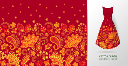 Hand drawn flower seamless pattern. Colorful seamless pattern with floral pattern in eastern style. Vector pattern for textile. Orange on red