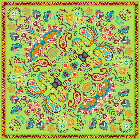 Paisley Bandana print. Vector square pattern. Green.