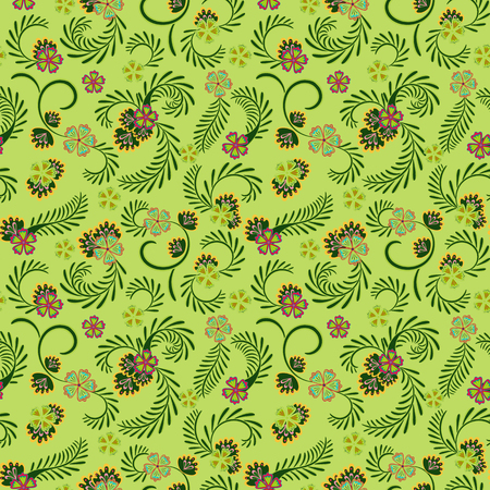 A simple green floral pattern for wallpaper