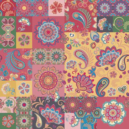 Motivo patchwork. Elementi decorativi vintage. Sfondo disegnato a mano. Vettoriali