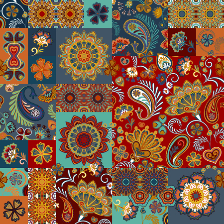 Seamless vector patchwork tile with paisley and mandala in colorful. Background set with hot eastern colors ornament in arabic style.