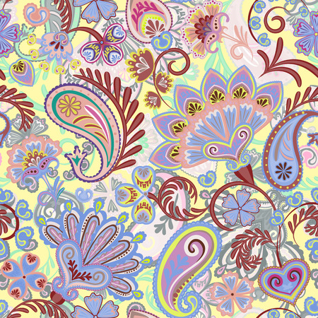 Paisley ethnic seamless pattern with floral elements. Vector eps8. Lilac brown