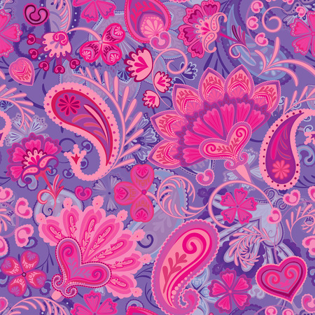 Paisley ethnic seamless pattern with floral elements. Vector eps8. Violet rose