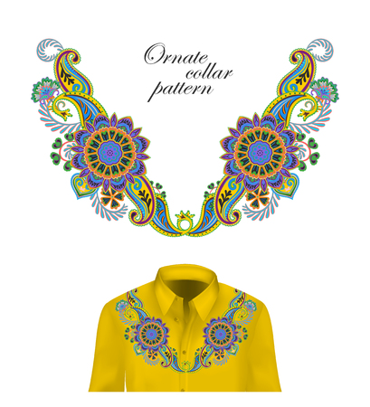 Oriental ornament with paisley and fantasy flowers. Vector design for collar shirts, blouses. Foto de archivo - 100667442