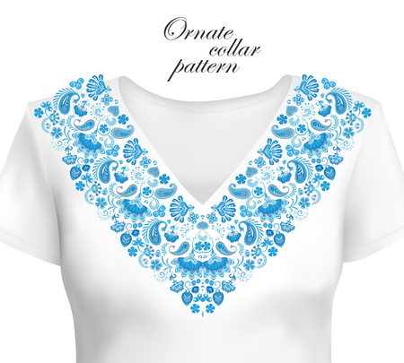 Vector design for collar shirts, shirts, blouses. Colorful ethnic flowers neck. Paisley decorative border. Ornate collar pattern. Foto de archivo - 100667449