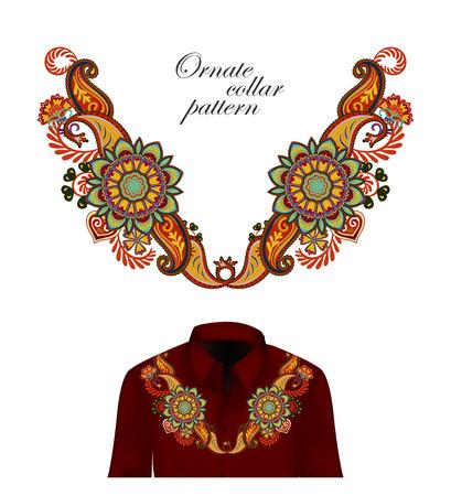Vector design for collar shirts, shirts, blouses. Colorful ethnic flowers neck. Paisley decorative border. Ornate collar pattern. Brown orange blue. Foto de archivo - 100541751