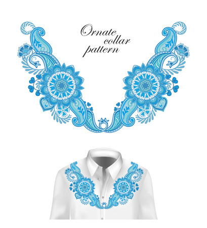 Oriental ornament with paisley and fantasy flowers. Vector design for collar shirts, blouses. Vector illustration. Blue Foto de archivo - 100541753