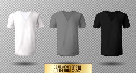 ●リアルなベクトルVネックTシャツモックアップイラスト。