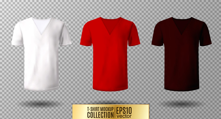 Realistic vector v-neck t-shirt mock up illustration. 矢量图像