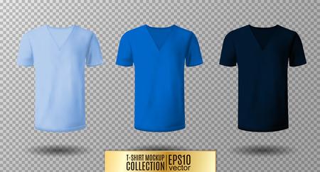 Realistic vector v-neck t-shirt mock up illustration. Illustration