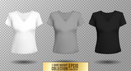 Women's black t-shirt with short sleeve and V-neck in front and back views. Illusztráció