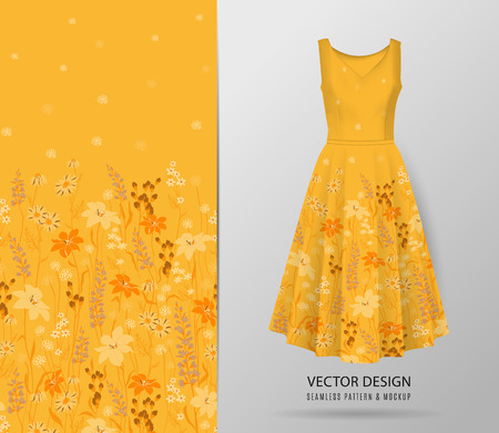 Hand drawn Floral pattern on dress mockup. Seamless vector texture. Elegant template for fashion prints. Surface with meadow flowers and herbs. Yellow background 일러스트