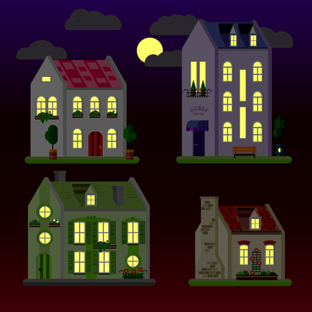 A set of flat illustrations of houses at night. One-storey, two-storey and three-storey building. Vector.