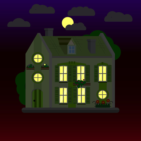 Flat illustrations of house at night. Two-storey building. Vector.