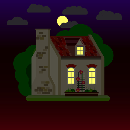 Flat illustrations of house at night. One-storey building. Vector. 向量圖像
