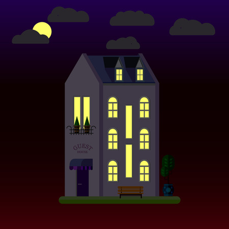 Flat illustrations of house at night. Three-storey building. Vector.