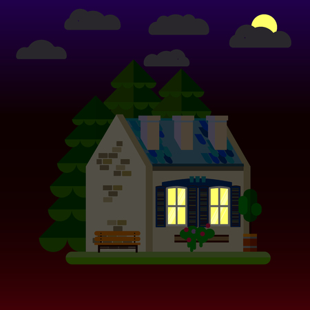 Flat illustrations of house at night. One-storey building. Vector. Illustration