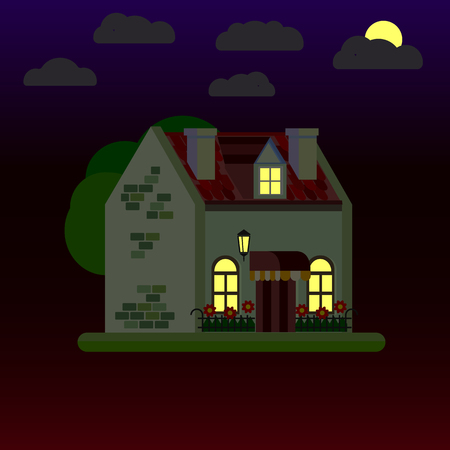 Flat illustrations of house at night. One-storey building. Vector. 일러스트