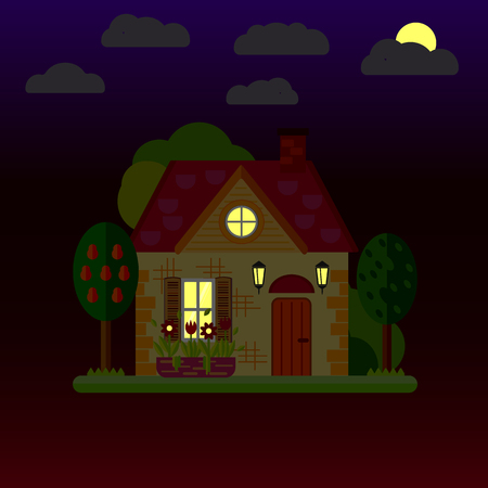Flat illustrations of house at night. One-storey building. Vector.
