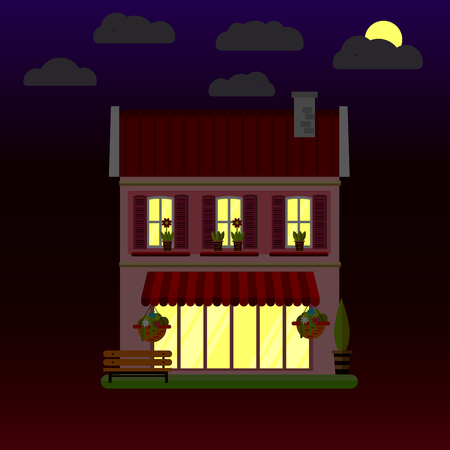 Flat illustrations of house at night. Two-storey building. Vector. Illustration