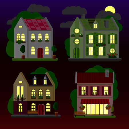 A set of flat illustrations of houses at night. Two-storey building. Vector.