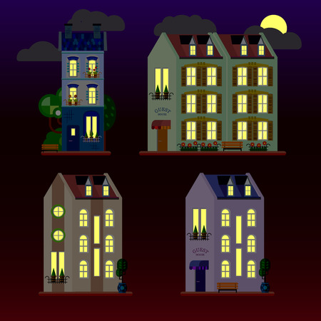 A set of flat illustrations of houses at night. Three-storey building. Vector.