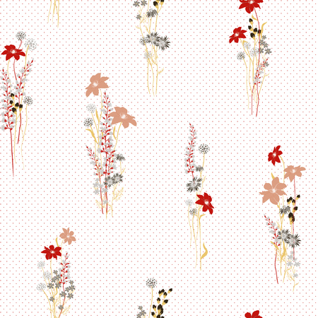 vector floral seamless pattern with colorful summer plants and flowers