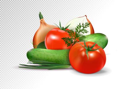 Verduras - tomate, pepino y cebolla se aísla en un fondo transparente.