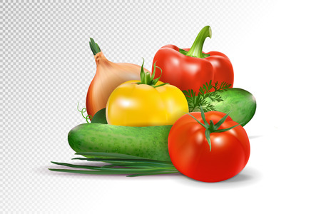Fresh vegetables on transparent background. Tomatoes, cucumbers, pepper and onion composition.