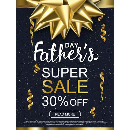 父亲节快乐黑色背景模板与黄金弓促销横幅,广告,传单,邀请,海报,小册子,折扣,优惠。矢量图