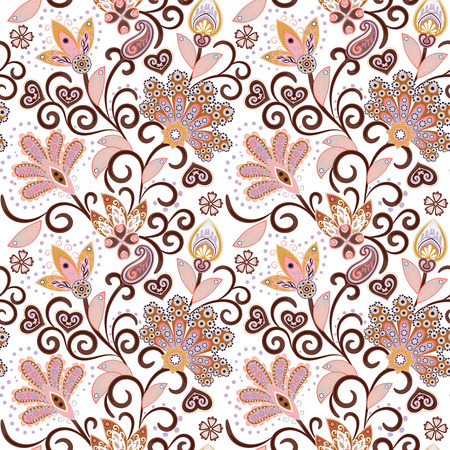 Vintage pattern in indian batik style. Floral hand draw vector background. Pastel pink and beige on white.