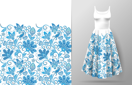Seamless vertical fantasy flowers border pattern. Hand draw floral background on dress mockup. Vector. Traditional eastern pattern for textiles, wallpapers, decor. Blue and white