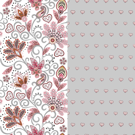 Set of two horizontal seamless floral pattern with paisley and fantasy flowers border. Hand drawn texture for clothes, bedclothes, fabric of the dress etc. Pink gray Illustration
