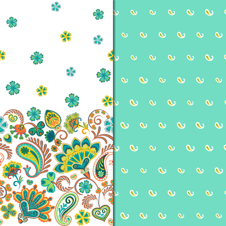 Set of two horizontal seamless floral pattern with paisley and fantasy flowers border. Hand drawn texture for clothes, bedclothes, fabric of the dress etc. Blue Illustration