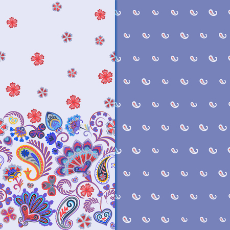 Set of two horizontal seamless floral pattern with paisley and fantasy flowers border. Hand drawn texture for clothes, bedclothes, fabric of the dress etc. Lilac