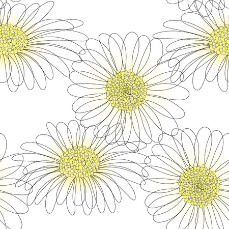 vector seamless pattern with drawing daisy flower, floral background, hand drawn botanical illustration  イラスト・ベクター素材