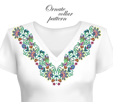 Vector design for collar shirts, shirts, blouses. Colorful ethnic flowers neck. Paisley decorative border. Ornate collar pattern. Brown orange blue. Foto de archivo - 104145492